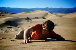 crawling in sand