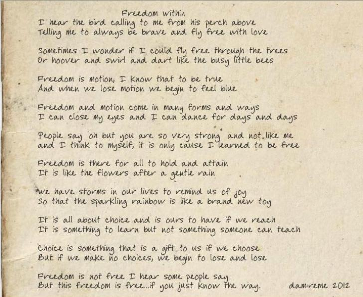 freedom within danLrene poem